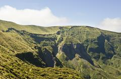 Steep cliffs of volcano in Faial, Azores Stock Photos