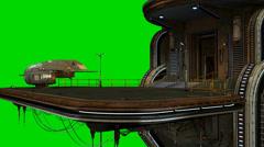 Futuristic city spaceship landing platform - green screen video background Stock Footage