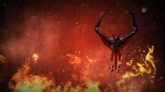 Dragon Hover in Flames Stock Footage
