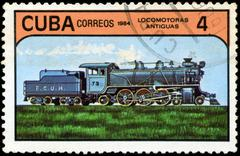 cuba - circa 1984: a set of postage stamps printed in cuba shows trains and l - stock photo