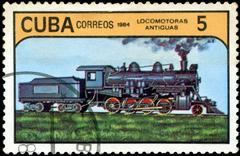 Stock Photo of cuba - circa 1984: a set of postage stamps printed in cuba shows trains and l