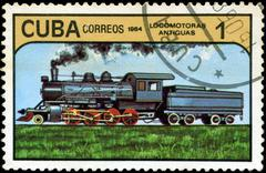 Cuba - circa 1984: a set of postage stamps printed in cuba shows trains and l Stock Photos