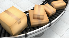 Parcels on a conveyor belt shipping to customers from a warehouse - stock footage