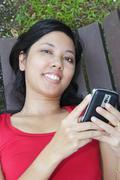woman with handphone - stock photo