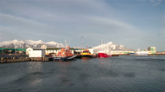 Windy Icelandic fishing harbor, Hornafjordur, Iceland Stock Footage