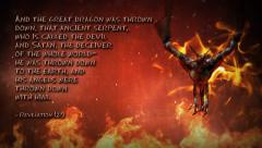 Dragon Fly Fire with text Stock Footage