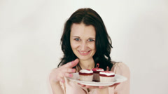 Pretty Girl With Cakes Stock Footage