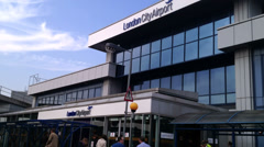 London City Airport Terminal Entrance. Editorial Only Stock Footage