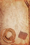 Grunge texture of old book paper sheet, hemp rope and cardboard blank Stock Photos