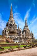 pagoda at wat phra sri sanphet temple under blue sky. ayutthaya, thailand - stock photo