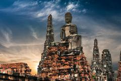 Sculpture of buddha at chai watthnaram temple ruins. ayutthaya, thailand Stock Photos