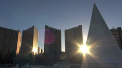 The City of Arts and Sciences,at sunset,Valencia,Spain,pan view Stock Footage