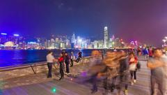 4k hyperlapse video of the Tsim Sha Tsui Promenade in Hong Kong Stock Footage