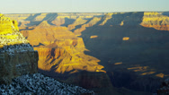 Stock Video Footage of Grand Canyon ravine National Park panning sunrise snow in winter, Arizona, USA