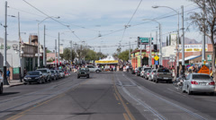 4K UHD time lapse 4th Ave street fair Tucson AZ up the tent row - stock footage