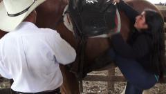 Mounting a Horse, Horseback Riding, Horses, Animals Stock Footage
