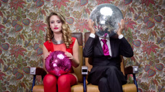 Two cool club disco ball characters Stock Footage