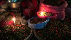 Asia market  at night and electricity problem, Katmandu, Nepal Stock Footage