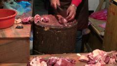 Cut and sale meat in Katmandu market, Nepal Stock Footage