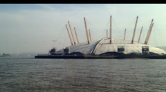 London - 14th March: The O2 with Emirates Air Line in background - stock footage