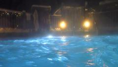 Soaking Pool POV at Night Stock Footage