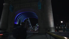 Tower Bridge at night panning shot, London UK Stock Footage