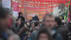 Chinese New Year girl on shoulders Stock Footage