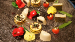 Fruits of the sea canapes decoration - stock footage
