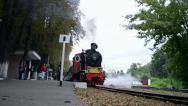 Stock Video Footage of vintage locomotive on Kiev Children Railway in Kiev, Ukraine,