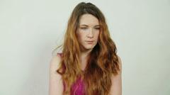 Unhappy Girl Stock Footage