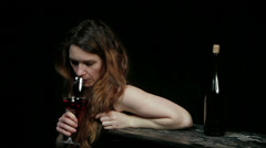 Young Girl And Alcohol - stock footage