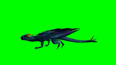 dragon runs - green screen - stock footage