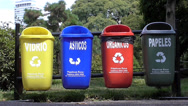 Stock Video Footage of Recycling Baskets in the street. Recycle trash