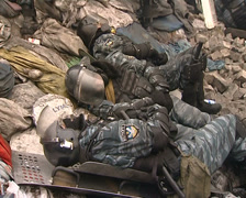 Ukraine Kiev tired cops. Рolice after fight Stock Footage