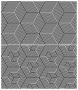 set of two b&w seamless patterns. cubic elements - stock illustration