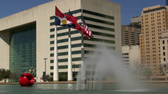 Three Flags Dallas City Hall  Water Fountain Stock Footage