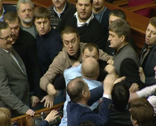 Scuffle in the Ukrainian parliament Stock Footage