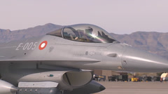 A Royal Danish Air Force F-16AM taxis to the runway for takeoff   Stock Footage