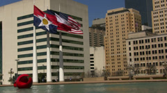 Three Flags Dallas City Hall With Pond Stock Footage