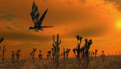 Dragon in flight on nature background Stock Footage