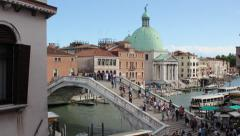 4K Busy Bridge Venice, Italy - Zoom In Stock Footage
