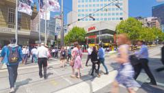 Stock Video Footage of 4k timelapse video of people crossing a busy crosswalk in Melbourne