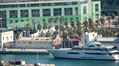 Barcelona port harbour zoom Stock Footage