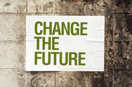 Stock Illustration of change the future poster on grunge wall