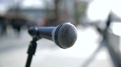 Microphone from street artist in london Stock Footage