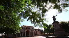 Statue of Christoph Columbus in Dominican Republic - stock footage