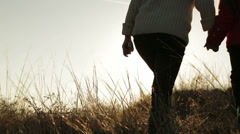 Mother And Daughter Walking In the Meadow - stock footage