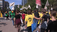 Campus life with students celebrating school orientation week Stock Footage