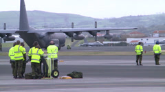 Danish F-16s landing at Lajes Field, Azores. Stock Footage