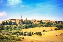 tuscany, pienza medieval village. siena, val d orcia, italy - stock photo